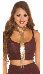 Sexy LeT s PaRTY chain sequin necklace Gold