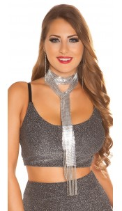 Sexy LeT s PaRTY chain sequin necklace Silver