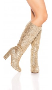Sexy party glitter boots Gold