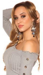Trendy hanging stud earrings Silver