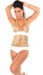 Sexy Monokini with sequin Goldwhite