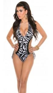Sexy trendy monokini with sequin Zebra