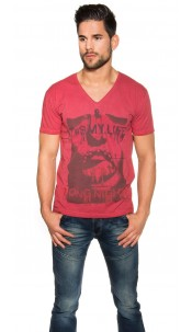 "Trendy V-Cut Shirt ""It s my Life Long Nights"" Red"