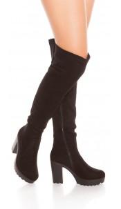 Sexy overkness with block heel in suede look Black