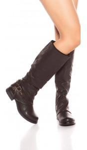 Trendy biker look boots with deco zip & buckle Black