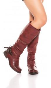 Trendy biker look boots with deco zip & buckle Bordeaux