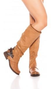 Trendy biker look boots with deco zip & buckle Brown