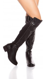 Sexy high leg boots with studs Black