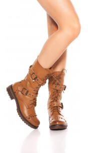 Trendy biker look boots with zip and laces Camel