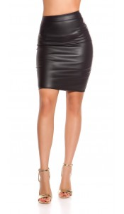 Sexy leather look pencil skirt Black