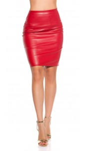 Sexy leather look pencil skirt Red