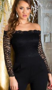 Sexy Jumpsuit with Lace & Carmen cutout Black