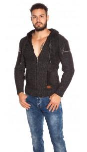 Trendy Men s Knit Hoodie with Zip Black