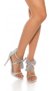 Sexy Sling High Heel with bow Silver