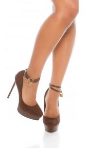 Sexy Plateau High heels lock&key suede look Brown
