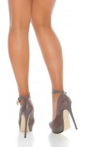 Sexy Plateau High heels lock&key suede look Grey