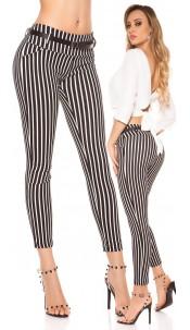 Trendy striped KouCla cloth pants Blackwhite
