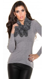 Trendy fluffy scarf with sequins Grey
