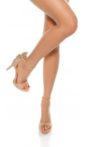Sexy high heel sandal with glitter rivets Beige
