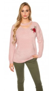 Trendy knit sweater with floral embroidery Antiquepink