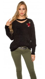 Trendy knit sweater with floral embroidery Black