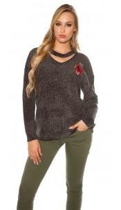 Trendy gebreide sweater-trui met bloemen-print borduurwerk khaki