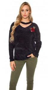 Trendy gebreide sweater-trui met bloemen-print borduurwerk marineblauw
