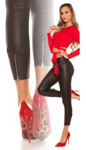 Sexy Lederlook Hose with Zips & bow Black