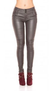 Sexy 5 pockets Leather Look Trousers Grey