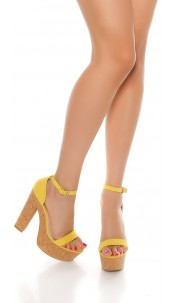 Sexy High Heel Sandal with cork heel Yellow