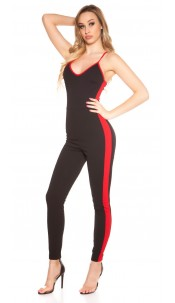 Sexy jumpsuit with contrast stripes Blackred