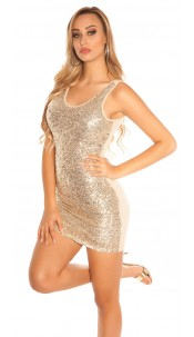 Sexy party dress with sequins Gold