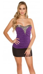 Sexy Bandeau-Partytop with sequins Purple