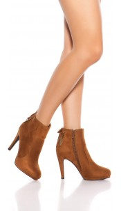 Sexy ankle boots with lace decoration Brown