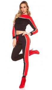 Trendy Set Sweater + Sweatjoggers Redblack