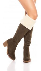 Trendy Overknees boots lined It s Up2U Green