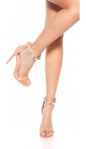 Sexy high heel sling sandal with rhinestones Pink