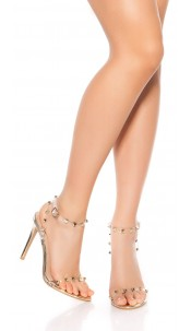Sexy high heel sandals with studs Gold