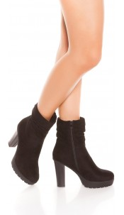 Trendy blokhak enkel laarzen zwart