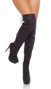 Sexy Plateau High heel boots in suede look Navy