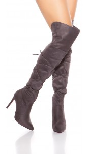 Sexy Overknees Boots with Lace It S Up2U Anthracite