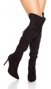 Sexy Overknees Boots with Lace It S Up2U Black
