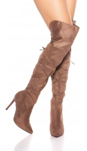 Sexy Overknees Boots with Lace It S Up2U Cappuccino