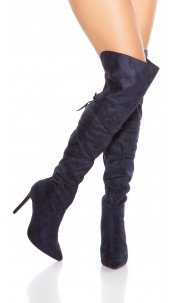 Sexy Overknees Boots with Lace It S Up2U Navy