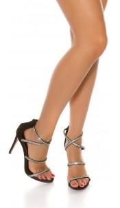 Sexy Sling High Heel Sandal with Rhinestones Black