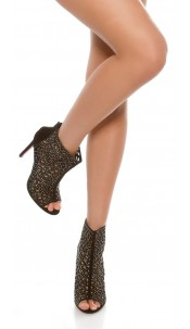 Sexy peeptoe ankle boots with glitter rivets Blacksilver