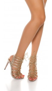 Sexy laced high heel sandals Gold