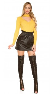 Sexy Leather Look Miniskirt Black