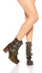Trendy block heel boots with buckles and studs Khaki