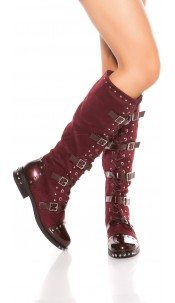 Trendy boots with buckles and studs Bordeaux